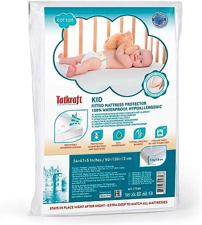 Coprimaterasso Lettino Impermeabile Premium di Lenzuolo Bamb/ù Naturale Copertura Silenziosa per Culla per Neonati e Bambini Piccoli 60 x 120 cm