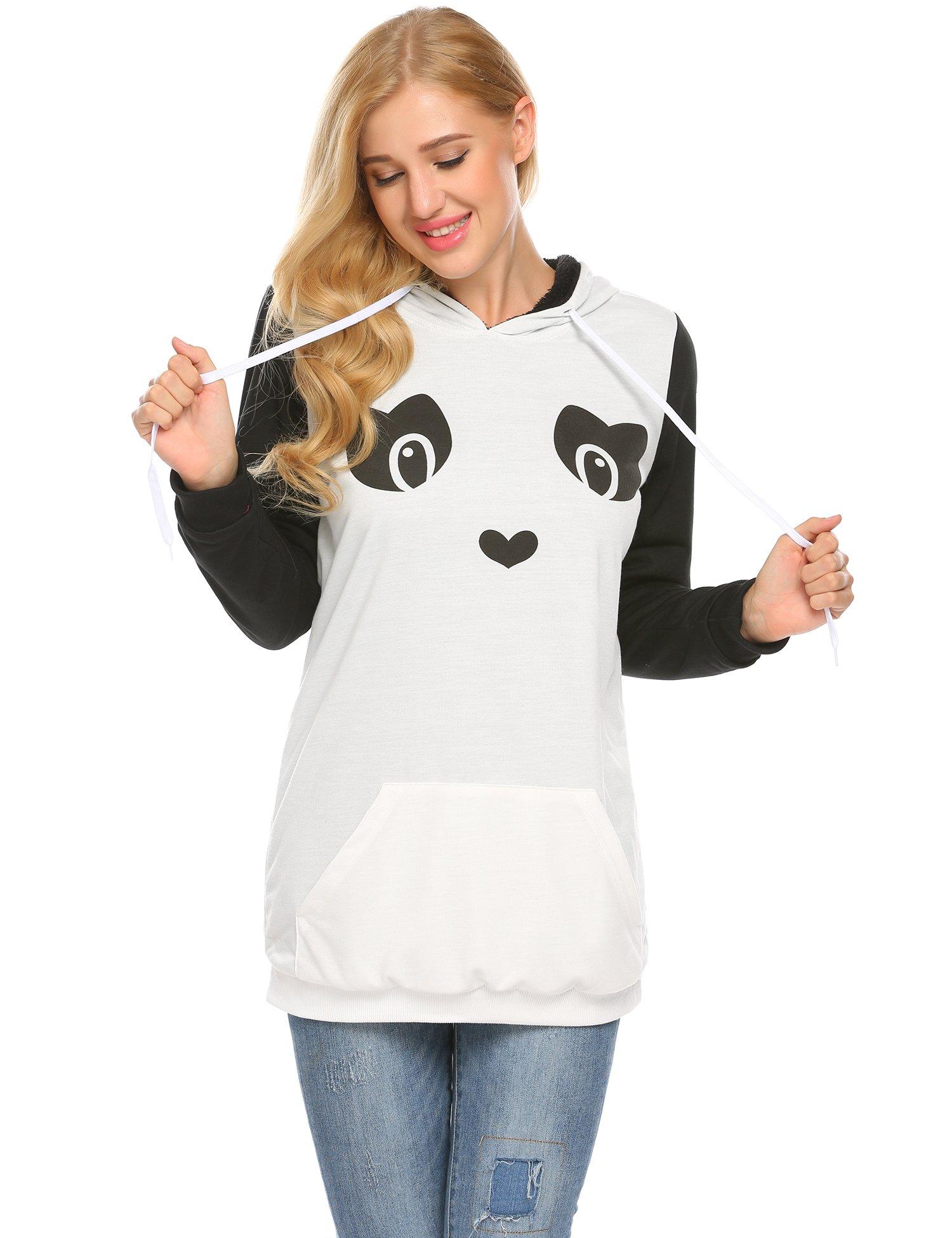 Zeagoo Women's Loose Fit Pullover Hoodie Sweatshirt with Kangaroo Pocket,White,M by Zeagoo (Image #2)