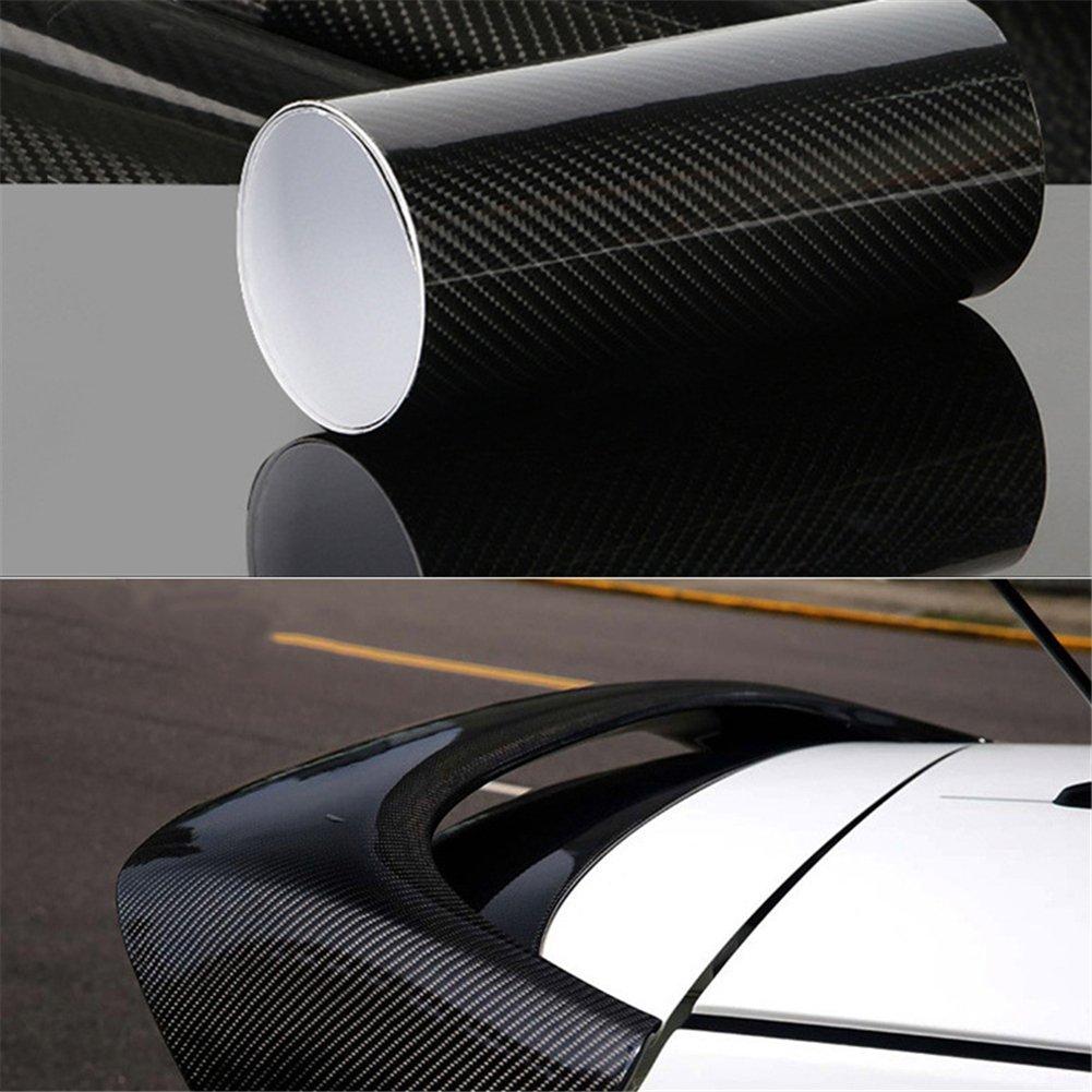5D HIGH GLOSS Carbon Fiber Vinyl Film Sticker For Car Decoration Air Release( 11.81 * 59.84in) blue--net