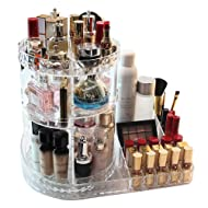 CC MALL Makeup Organizer, 360-Degree Rotating Adjustable Multi-Function Acrylic Cosmetic Storage, Transparent, Stylish Design, Cosmetic and Jewelry Storage Display Boxes for Bedroom, Bathroom