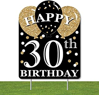 product image for Big Dot of Happiness Adult 30th Birthday - Gold - Outdoor Lawn Sign - Birthday Party Yard Sign - 1 Piece
