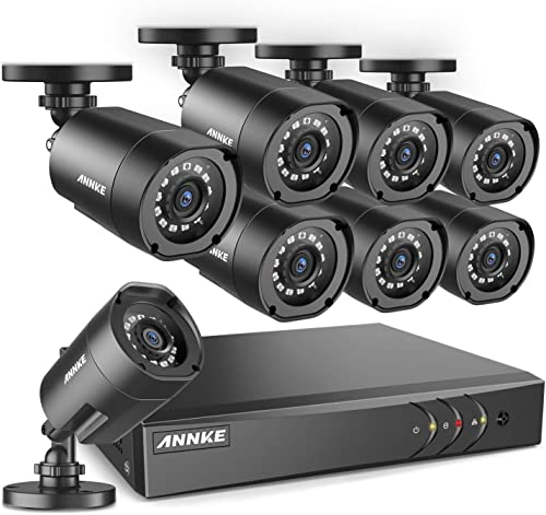 ANNKE 8-Channel 1080P Lite Video Security System CCTV H.264 DVR 8 Indoor Outdoor 2.0MP 1080P Weatherproof Surveillance Security Camera System, Email Alert with Snapshots, NO Hard Drive