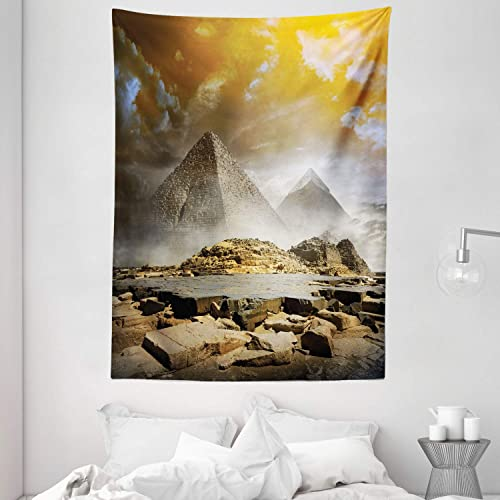 Ambesonne Egyptian Print Tapestry, Storm Clouds over Pyramids Photo of Culture Eastern Art, Wall Hanging for Bedroom Living Room Dorm Decor, 60 X 80 , Vermilion Blue