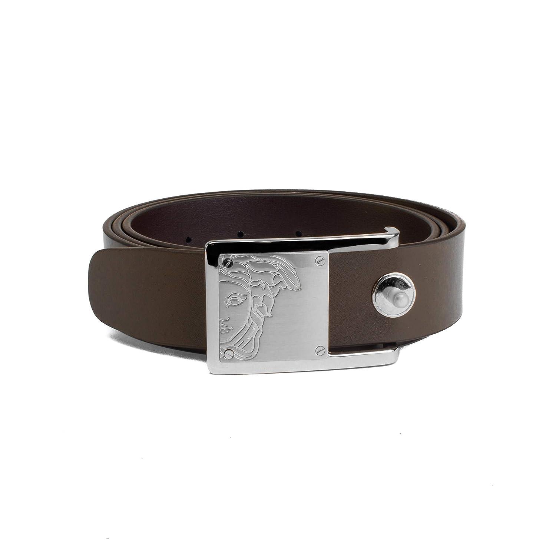 cd80cc99 Amazon.com: Versace Collection Men's Medusa Steel Buckle Leather ...