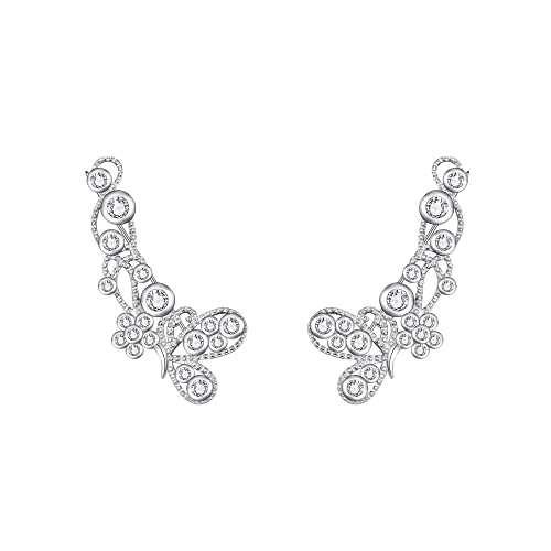 b487528c4 Image Unavailable. Image not available for. Color: FANZE Women's 925 Sterling  Silver Round CZ Butterfly Flower Cluster Ear Crawler ...