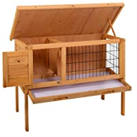"""Sandinrayli 36"""" Wooden Rabbit Bunny Hutch House Coop Poultry Cage Outdoor Run, Natural Color"""