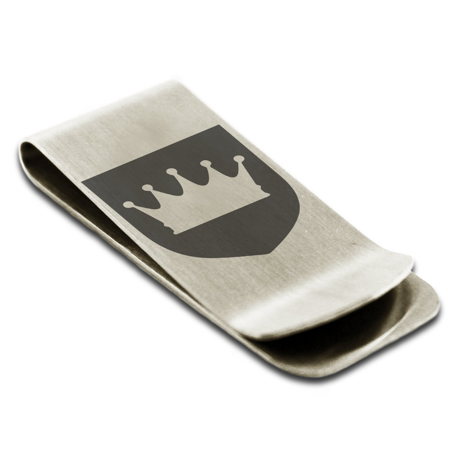 Stainless Steel Crown Royal Coat of Arms Shield Symbol Engraved Money Clip Credit Card Holder