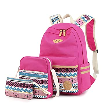 195c6f3ac1e1 Backpack Set 3 Pieces Patterned Canvas Laptop Casual Travel School Bag for  Teens Boys Girls