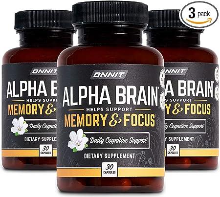 ONNIT Alpha Brain (90ct) - Over 1 Million Bottles Sold - Premium Nootropic Brain Supplement - Focus, Concentration + Memory - Alpha GPC, L Theanine & Bacopa Monnieri