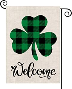 St Patrick's Day Garden Flag Welcome Shamrocks Yard Double Sized Burlap Spring Summer Holiday Decors 12.5 x 18 Inch