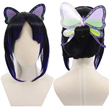 Amazon.com: Cfalaicos Demon Slayer Kimetsu no Yaiba Cosplay Wigs (Kochou  Shinobu with Butterfly Accessories ): Beauty