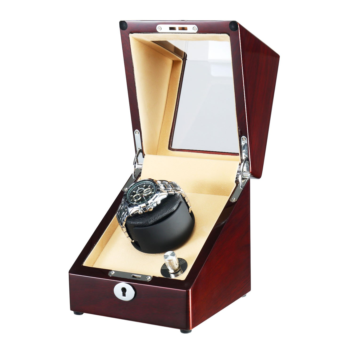 OLYMBROS Wooden Single Rotor Automatic Watch Winder Storage Box