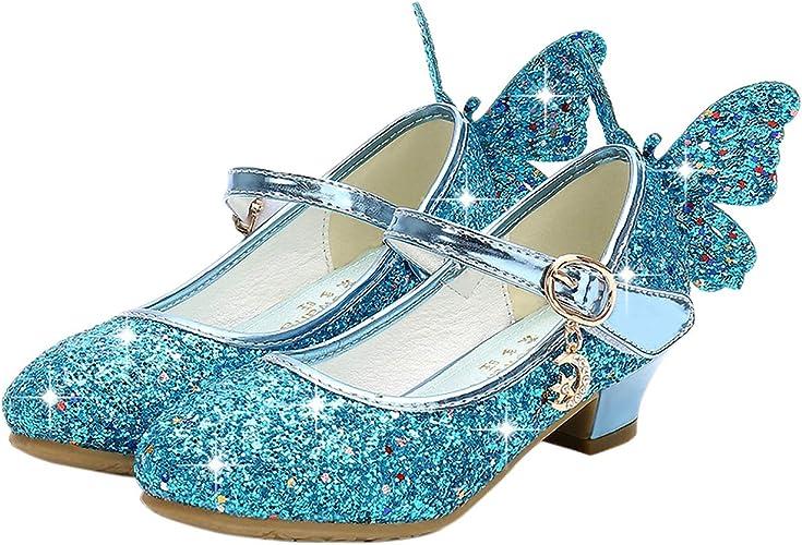 Kinder Mädchen Pailletten Prinzessin Schuhe Party Hochzeit Absatz Schuhe 26-38