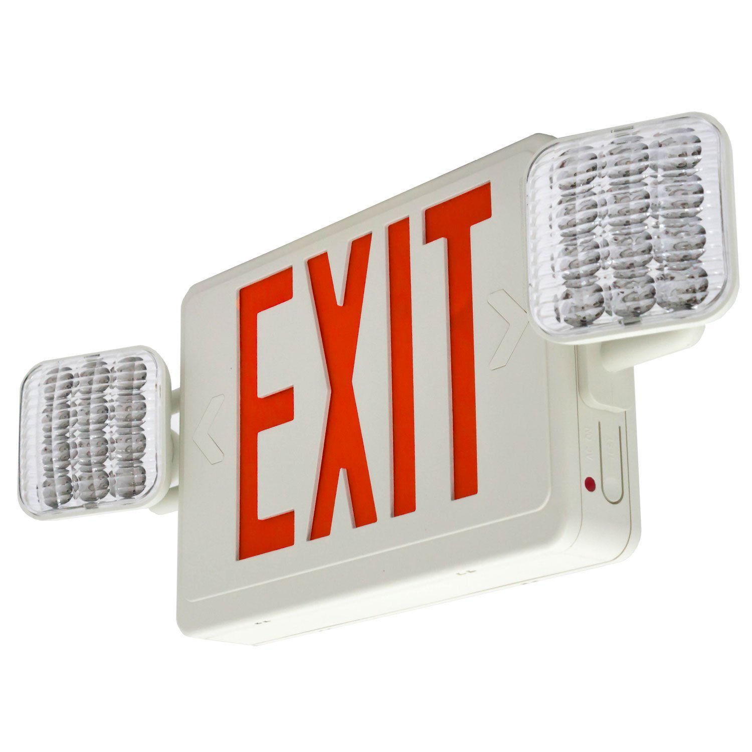 Lfi Lights Hardwired Red Led Combo Exit Sign Emergency Light Combor2 Commercial Lighted Signs Com