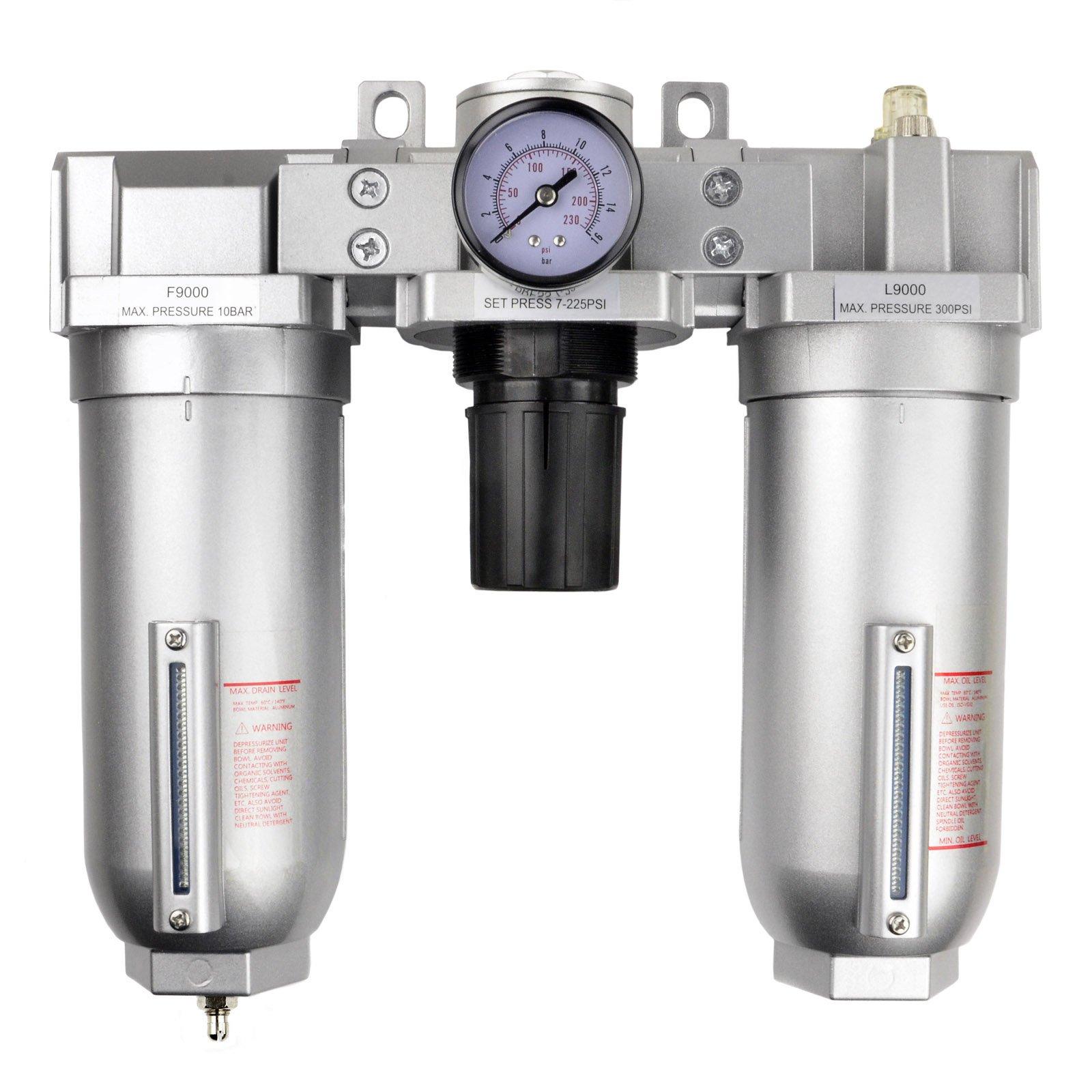 1'' Compressed Air Moisture Filter Regulator Oiler Separator Lubricator Combo HD by Generic