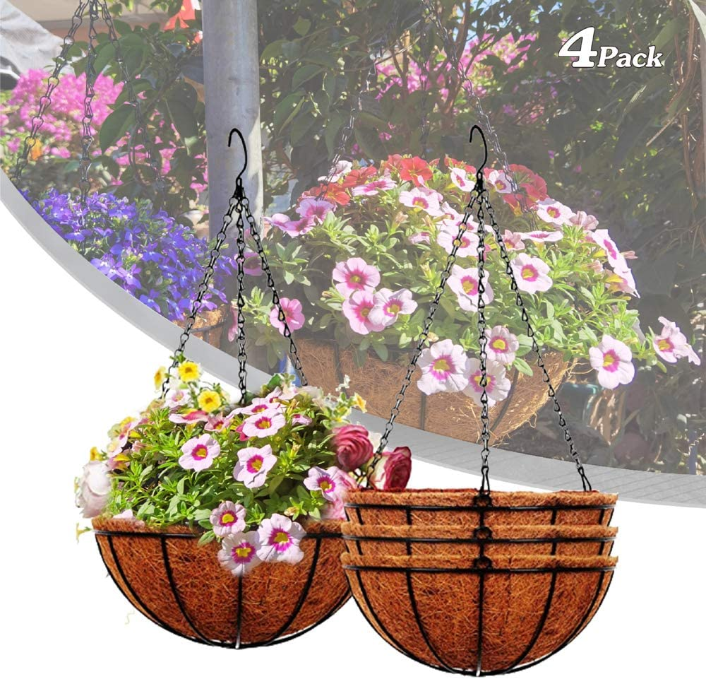 KKDRS 4Pack Metal Hanging Planter Basket with Coco Coir Lier & Non-Woven Fabric Water Retention 10in with Chain Porch Decor Folwer Pots Hanger Garden Decortion Indoor Outdoor Watering Hanging Baekets