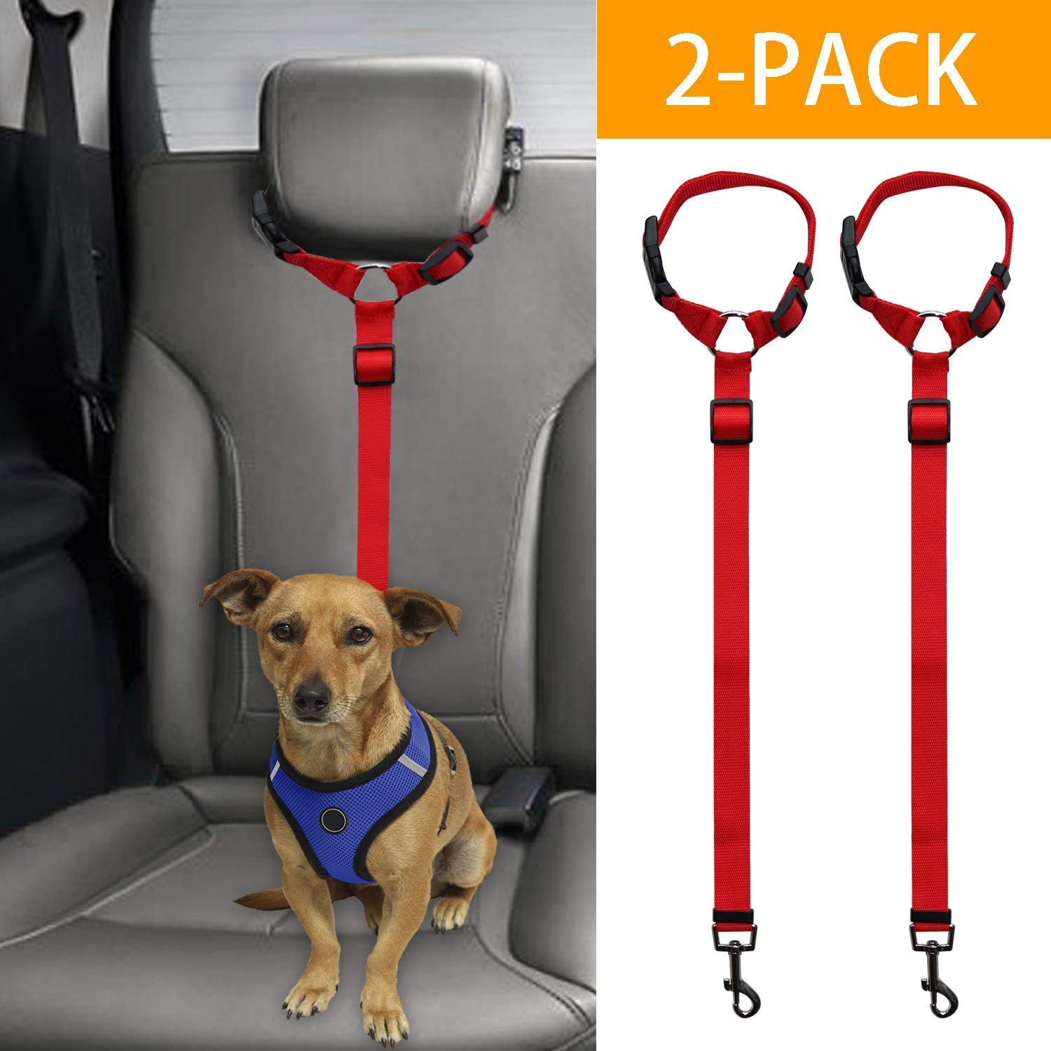 Pink-1Pack Docamor Adjustable Dog Seat Belt Dog Harness Pet Car Vehicle Seat Belt Pet Safety Leash Leads Dogs//Cats Adjustable From 18 To 30 Inch Nylon Fabric Material Carnation