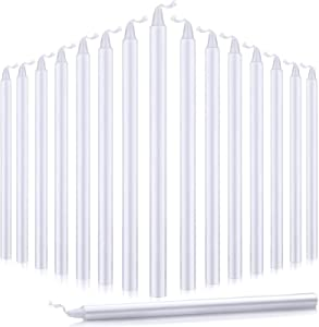 Nuanchu 16 Pieces Christmas Advent Candles Dripless Taper Candles Hand Dipped Candles Set Dinner Candles for Christmas Household Celebration 7.9 Inch (White)