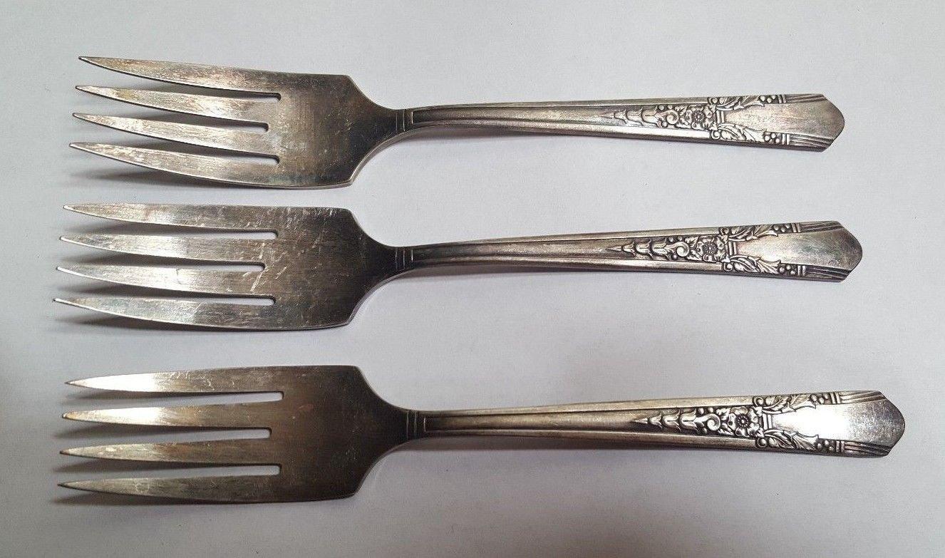 3 SIMON & GEORGE Xtra Silverplate Salad Forks Set of 3