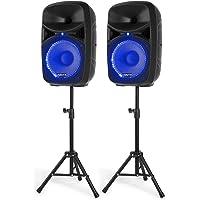 Vonyx VPS102A actieve 600W geluidsinstallatie met Bluetooth, mp3 speler, standaards en 10 inch speakers met LED…