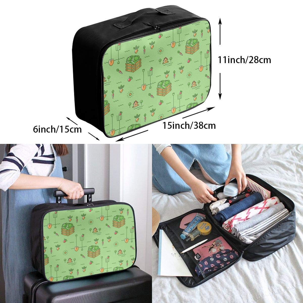 Lightweight Large Capacity Portable Luggage Bag Cabbage Harvest Travel Duffel Bag Backpack