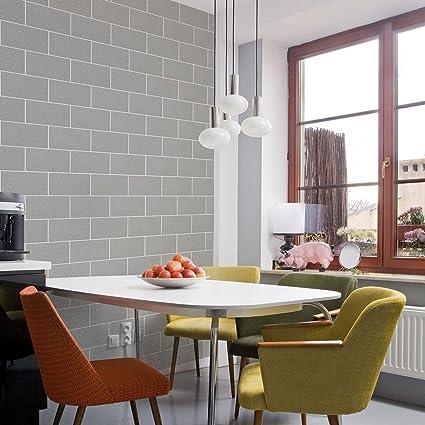 Brick Effect Wallpaper Kitchen Bathroom Vinyl Glitter Textured Grey