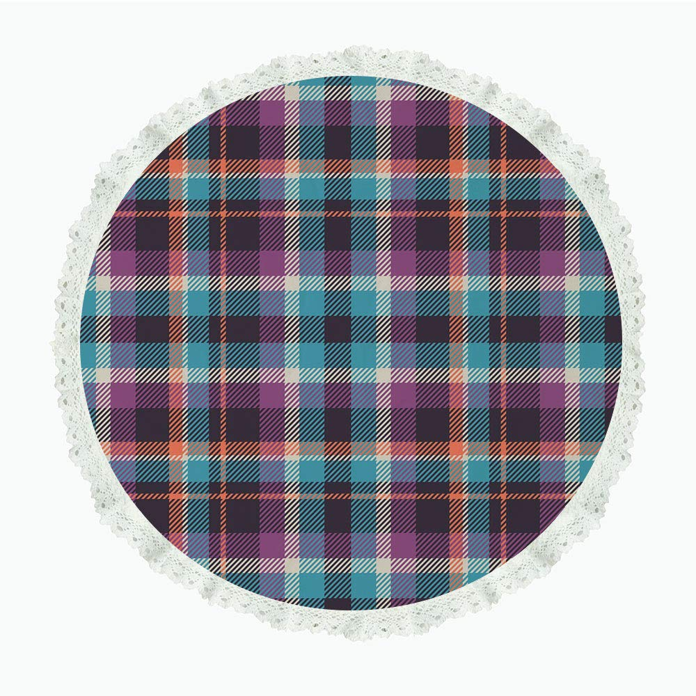 """iPrint 85"""" Round Polyester Linen Tablecloth,Checkered,Celtic Tartan Irish Culture Scotland Country Antique Tradition Tile Decorative,Violet Light Blue Salmon,for Dinner Kitchen Home Decor"""