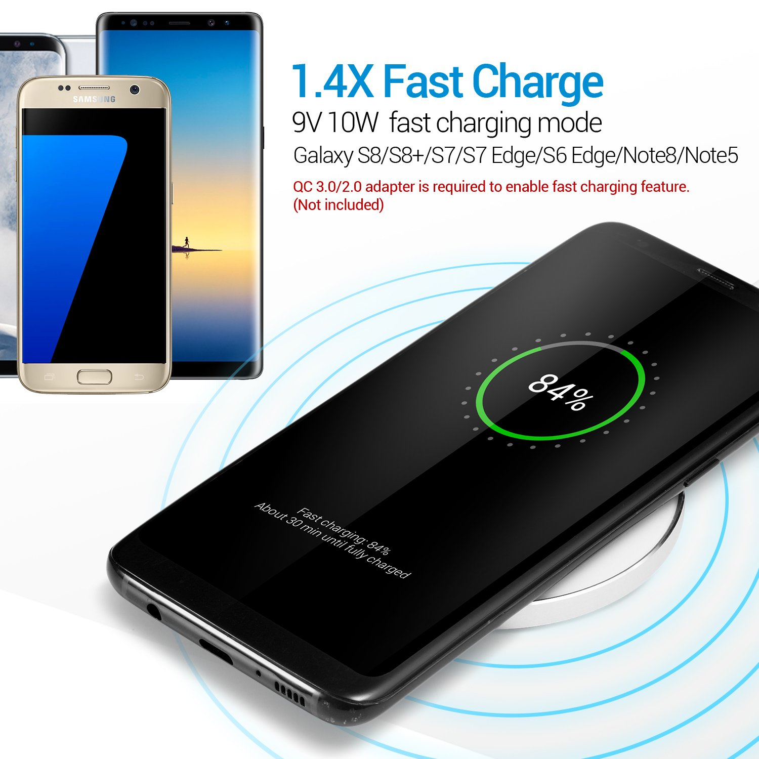 etc. 7 Plus iPhone 7 iPhone X iPhone 8 Nexus Note 8 8 Plus LEAPCOVER Aluminum QI Wireless Charging Pad for IOS and Android Smartphone Devices Samsung Galaxy S7//S6//Edge//Plus White
