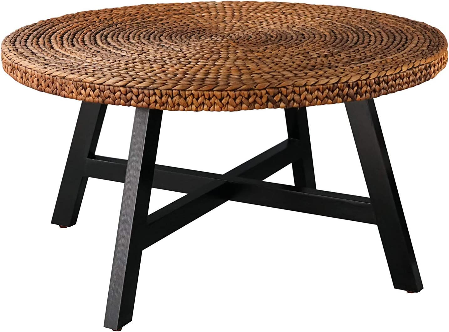 Amazon Com Randefurn Seagrass Round Coffee Table Sofa Console Tables Pine Wood X Base Frame End Tables Easy Assembled Multiple Sizes For Living Room Solid Wood Side Table 32 X 17 Inches Gold Kitchen Dining [ 1068 x 1444 Pixel ]