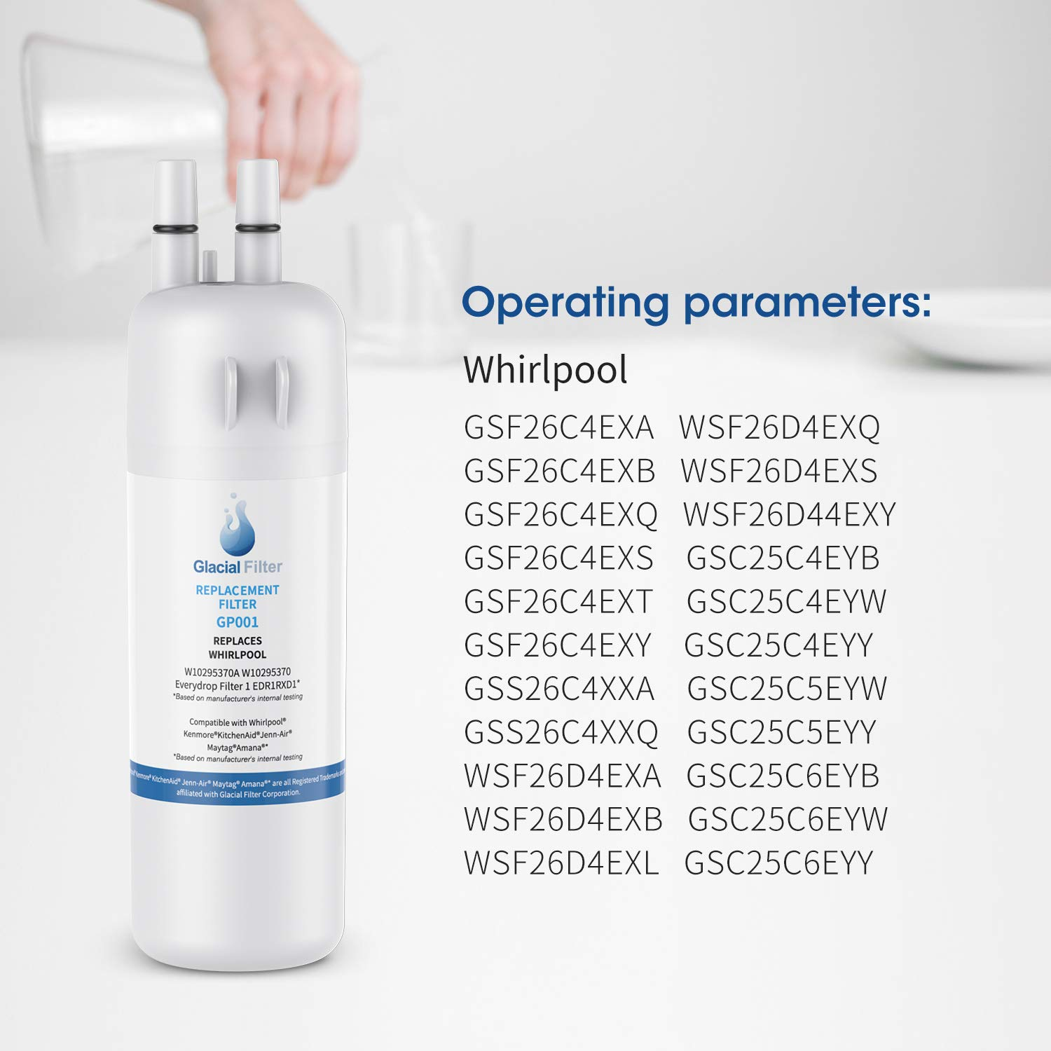 46-9081 3-PACK W10295370A W10295370 Water Filter 1 Compatible with P8RFWB2L P4RFWB ẸDR1RXD1 Pur Filter 1 Kenmore 46-9930