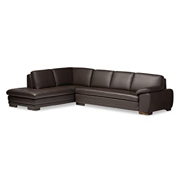 Amazoncom Baxton Studio Abriana 2Piece DarkBrown Leather Sofa