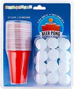 Set de Beer Pong Americano – Juego para Beber Cerveza - 25 Vasos Rojos y 25 Bolas de