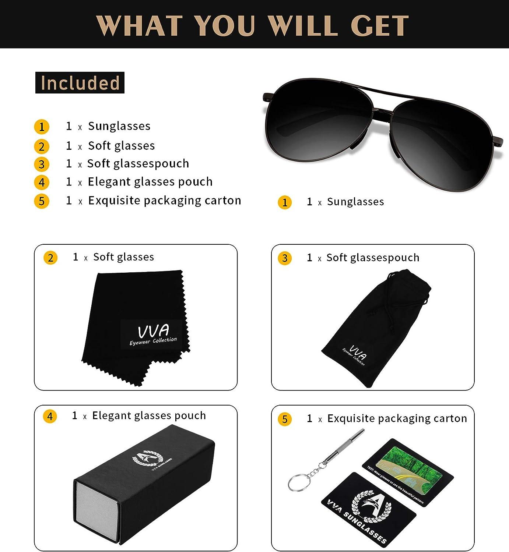 VVA Pilot Polarised Sunglasses Mens Unisex UV400 Protection By V101 Sunglasses Man Pilot Polarized Mens