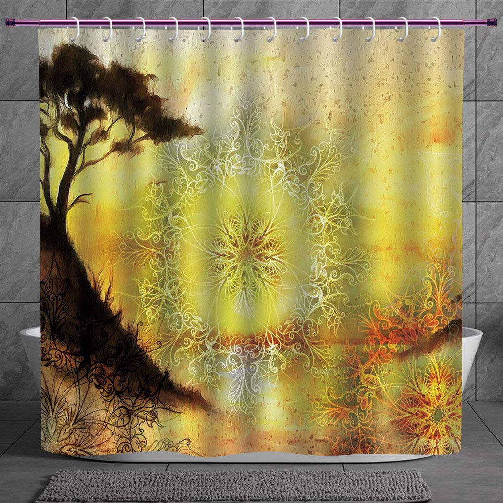 Polyester Shower Curtain 2 0 Yellow Mandala Dreamy Landscape In Painting Style Tree On Cliff Horizon Oriental Swirls Decorative Multicolor Polyester Fabric Bath Decorative Curtain Ideas Amazon In Home Kitchen