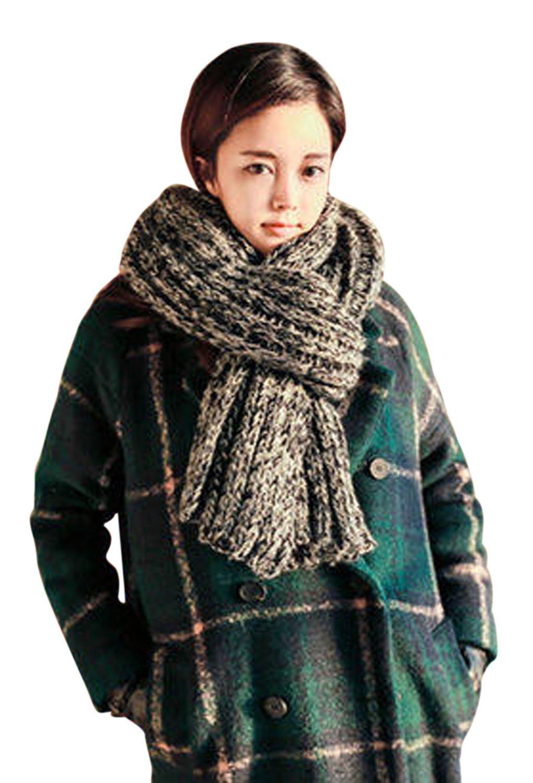 Bufanda Unisex, estilo coreano, para Otoño o Invierno, bonito fular grueso y largo, pañuelo trenzado de punto, chal moderno, Manta de lana, bufanda protectora de punto para hombre o mujer, cálida, suave, confortable, gris