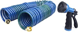 FLORIAX Heavy Duty PU 50FT Coil Hose with Garden Hose Nozzles Self Coiling Water Hose with Sprayer Marine Coiled Washdown Hose Spiral Hose Set Recoil RV Boat Hose with Brass Connectors