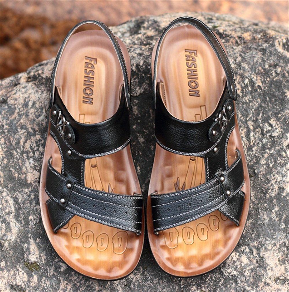 Wagsiyi Hausschuhe Sandalen Herren Sommer Leder Anti-Rutsch-Sandalen Atmungsaktive Sandalen Strandschuhe : (Farbe : Braun, Größe : Strandschuhe 41 1/3 EU) Schwarz 368514