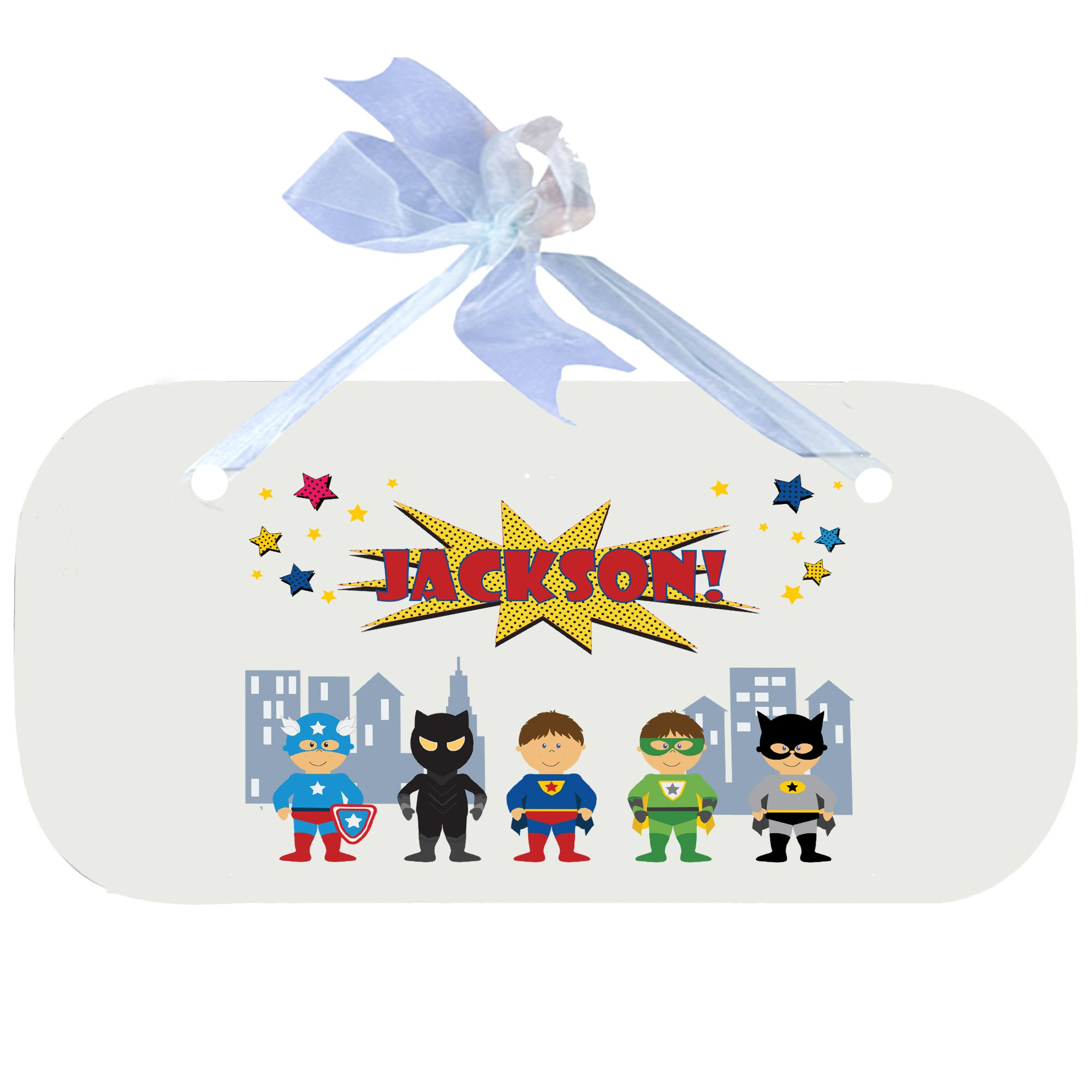 Personalized Boys Super Hero Nursery Door Hanger Plaque with blue ribbon