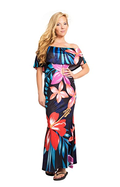 8d0698c9313c Clasichic Damen Off Shoulder Maxikleid Blumen Strandkleid Sommer Kleider  (XL, Schwarz)