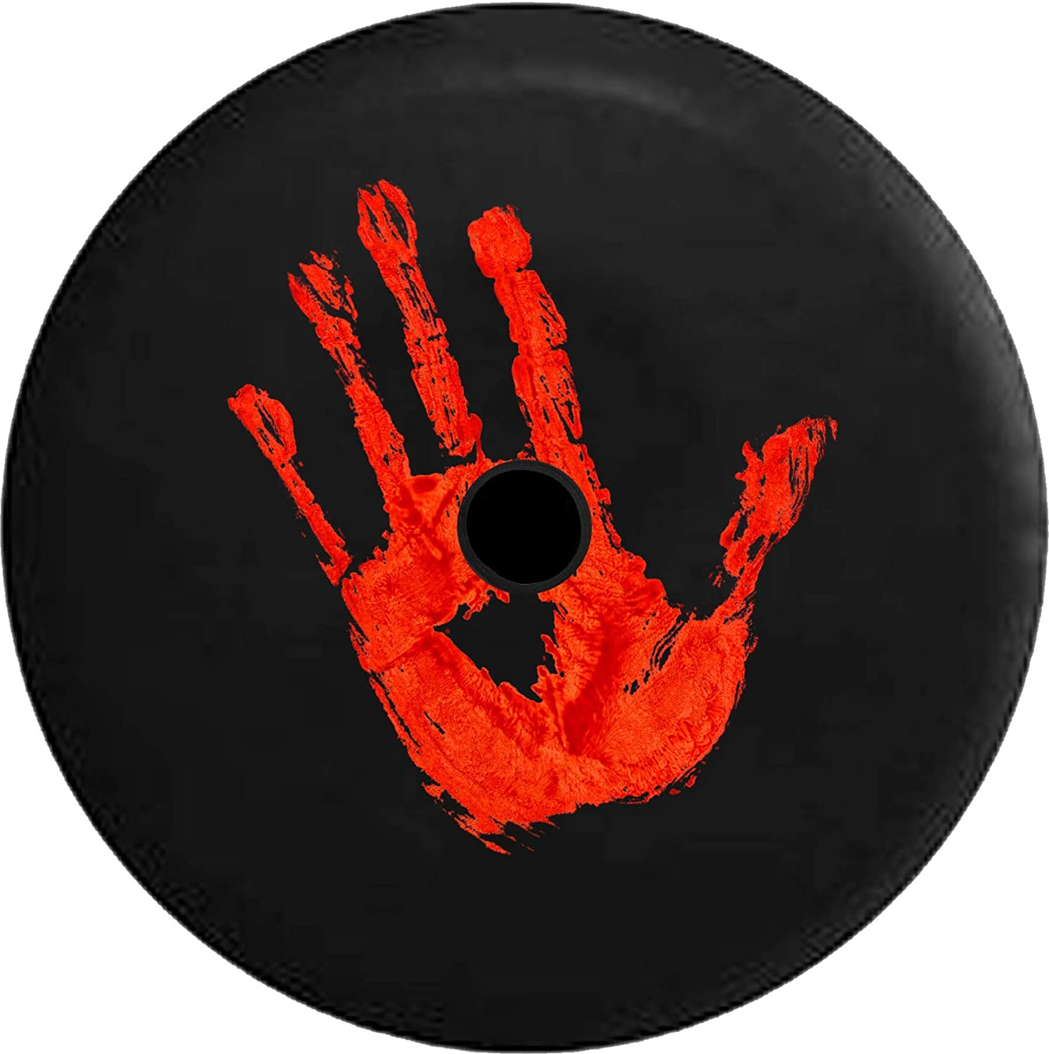 JL Series Jeep Spare Tire Cover Backup Camera Hole Zombie Bloody Handprint Black 32 in