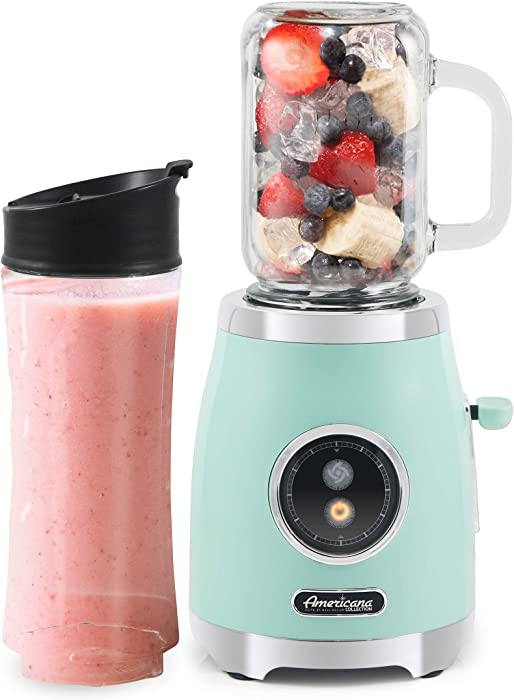 Americana EPB399M by Elite Maxi-Matic Retro Personal Blender with 17oz Glass Mason Jar, 20oz. Sports Bottle with Lids, Blend Smoothie, Crush Ice, Shakes, Keto Protein, 300 Watts, Mint