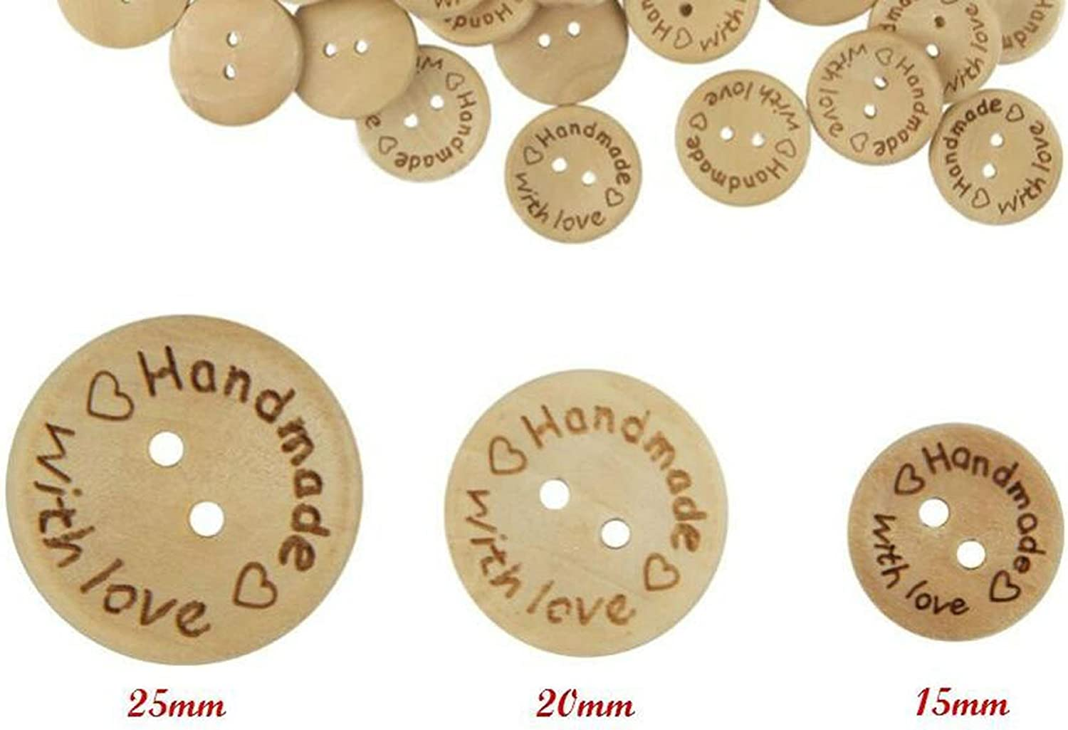 DIY Handmade Decor Craft for Sewing Scrapbooking Clothes Accessories 15mm // 0.59 Pack of 100 Pcs 2 Holes Round Wooden Buttons