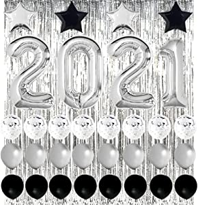 New Years Eve Party Supplies 2021 Decorations Kit, Silver 2021 Balloons, Black and Silver Balloons Set, Silver Foil Curtain, Black and Silver Star Mylar Balloons, Graduation Party Supplies 2021