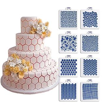 ART Kitchenware New 8pcs Set Wedding Cake Decorating Stencil Honeycomb GrainStone Grain Plastic