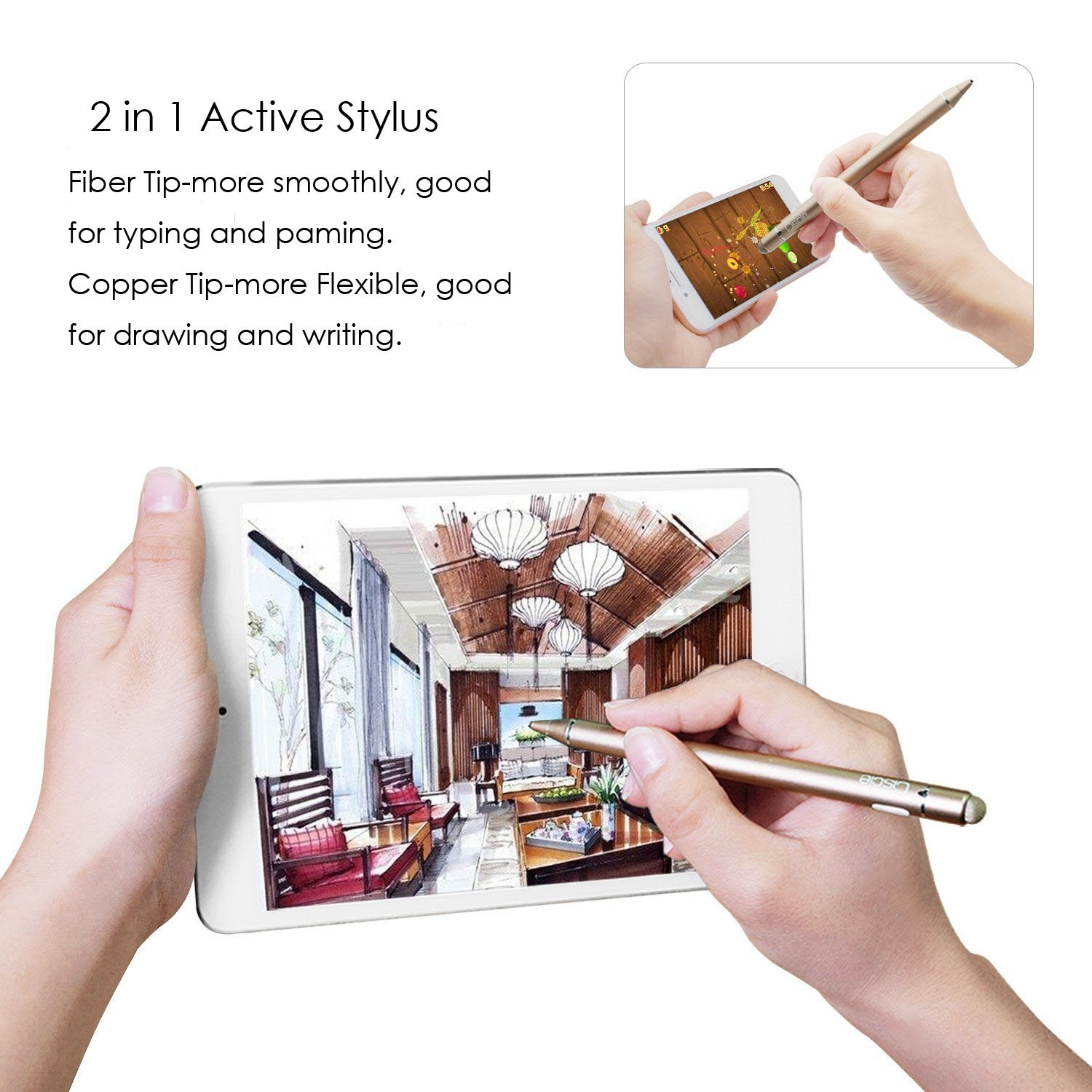 Active Stylus Pen, Ciscle Electronic Stylus, 2 in 1 Precision Series with 1.6mm Fine Point Copper Tip and Mesh Tip, for Touch Screen Devices (iPad/iPhone/Andriod or More) -Rose Gold by Ciscle (Image #2)