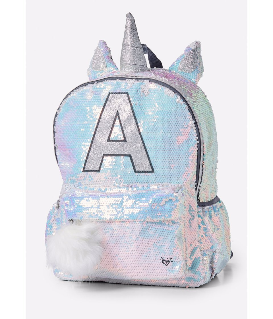Justice Girls Unicorn Sequin Backpack with Lunch Tote in Letter M