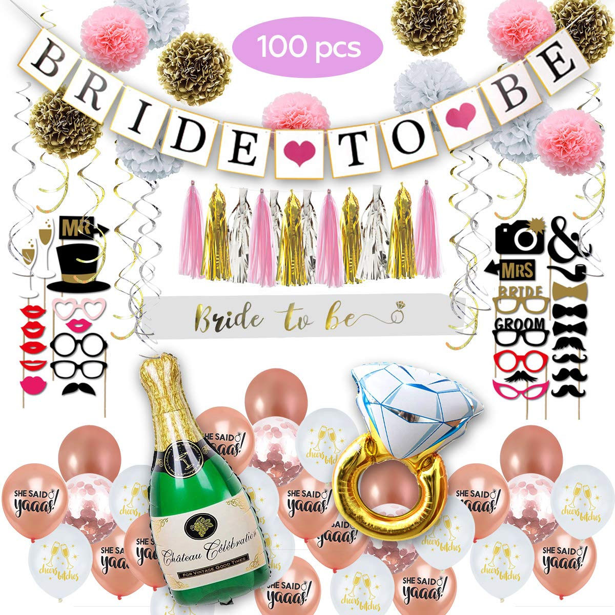 BB Party Kings 100 Pcs Bachelorette Party Decorations - Bride to Be Party Decorations Kit - Bridal Shower Supplies - Bride to Be Banner & Sash, Diamond Ring Balloon, 30 Funny Photos Props, More