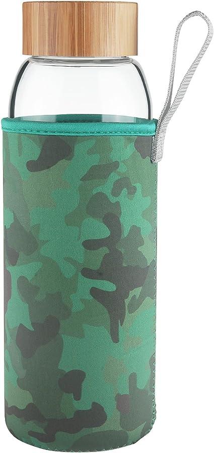 Ferexer Botella de Agua de Cristal de Vidrio con Tapa de Bambu 1000 ml 1 L (Camuflaje): Amazon.es: Deportes y aire libre