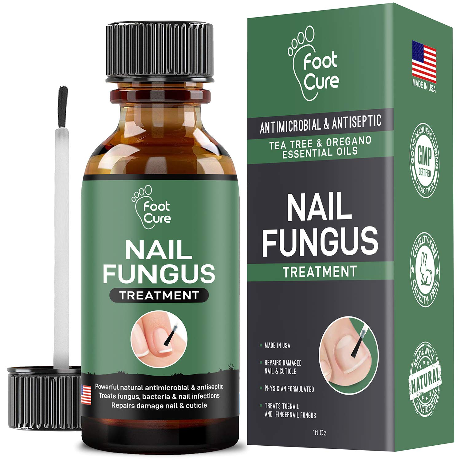 EXTRA STRONG Finger & Toenail Fungus Treatment| Organic & USA Made Nail Fungus Treat-ment| Cure Athlete's Foot & Infected Nails with Our Fungus Treatment| Best Antiseptic Toe Nail Fungus Treatment by FOOT CURE