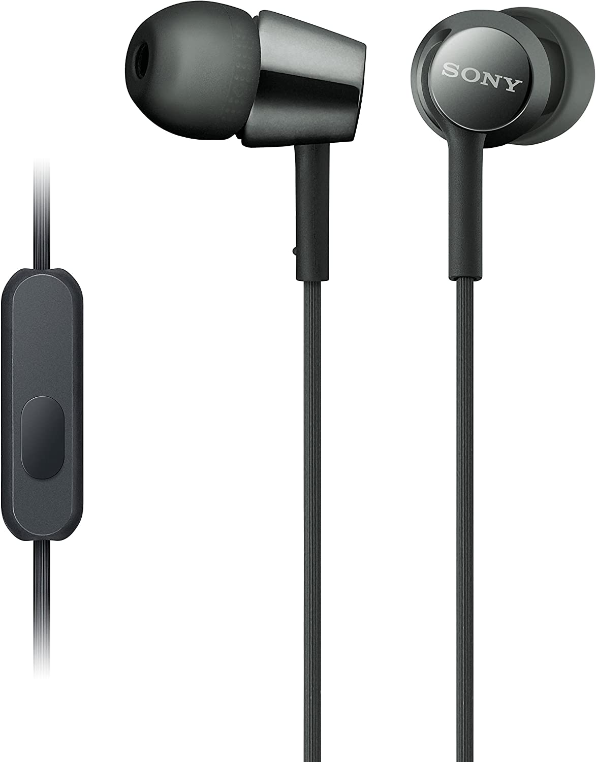 Sony MDREX155AP in-Ear Earbud Headphones/Headset with mic for Phone Call, Black (MDR-EX155AP/B)